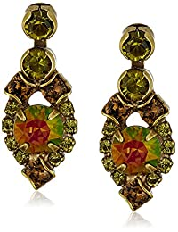 """Sorrelli """"Green Tapestry"""" Assorted Round Crystal Dainty Drop Earring"""