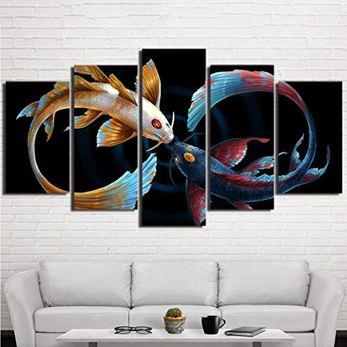 QJXX Prints On Canvas 5 Pieces Artwork Koi Fish Yin Yang Awesome Painting in Black Background Picture Art Print Wall Home Office Decoration,B,20×35×2+20×45×2+20×55×1