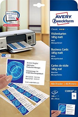 AVERY Zweckform C32010-25 Classic Visitenkarten, blanko (250 Stück, 185g, 85x54 mm, beidseitig bedruckbar, matt weiß, extra feine Mikroperforation, 25 Blatt) zum Selbstbedrucken auf allen Druckern