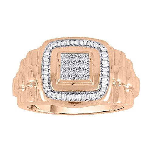 KATARINA Baguette and Princess Cut Diamond Men's Ring in 14K Rose Gold (3/4 cttw, G-H, VS2-SI1) (Size-13.75)