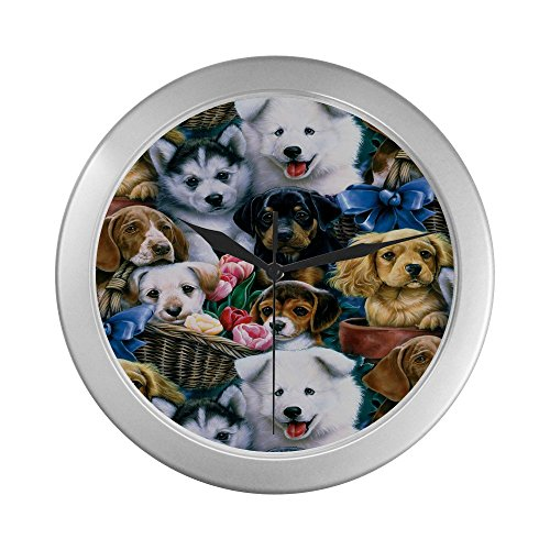 Lots of Funny Puppies and Dogs Decorative Silver Lined Wall Clocks