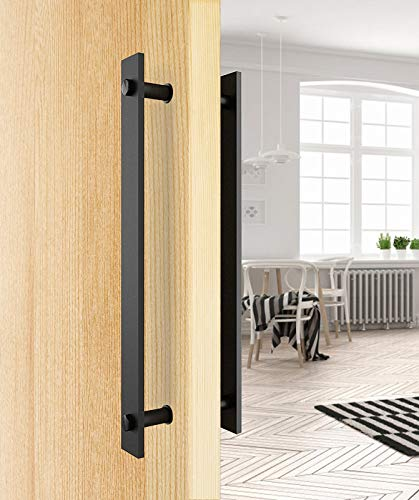 PENSON & CO. DHS-0003-BK Steel Rustic Black Barn Pull Wood Door Two-Side Flat Bar Handles ()