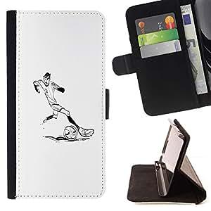 Momo Phone Case / Flip Funda de Cuero Case Cover - Jugador de fútbol Soccer Minimalista Blanca - Samsung Galaxy J3 GSM-J300