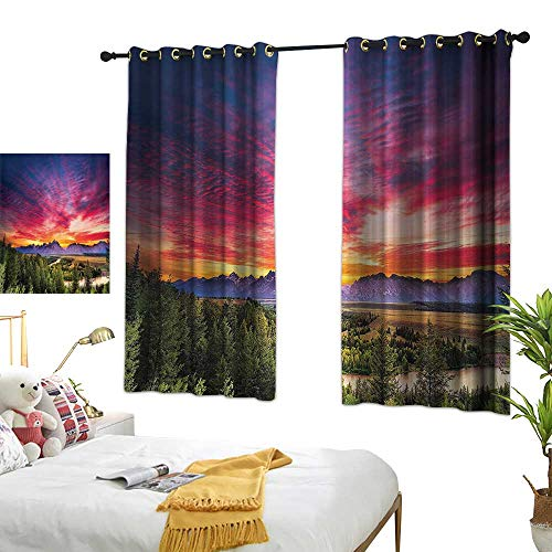 - Warm Family Bedroom Curtains Lake House Decor Collection,Colorful Skyline with Clouds in The Forest Lake River Mountain Landscape Park Sunburst,Multi 54