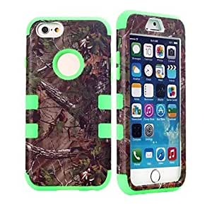 QHY 4.7 Inch Shockproof Forest Tree Pattern Hard PC+Silicone Hybrid Combo Protector Back Cover for iPhone 6(Assorted Colors) , Black
