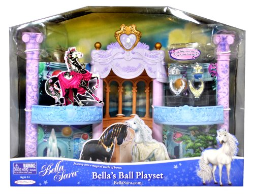 Jakks Pacific Bella Sara Series Horse Figure Accessory Play Set - Bella's Ball Playset with Rolandsgaard Castle (Exterior View) and Ball Room (Interior View) Plus 2 Tiaras and 2 Regal Necklaces (Horse is not Included)