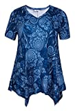ZERDOCEAN Women Plus Size Printed Short Sleeves Tunic Tops Flowy T Shirt Style-810 4X