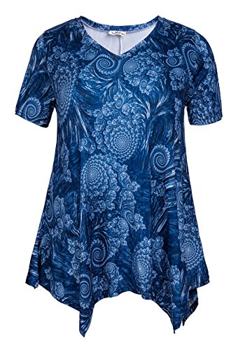 ZERDOCEAN Women Plus Size Printed Short Sleeves Tunic Tops Flowy T Shirt Style-810 3X by ZERDOCEAN