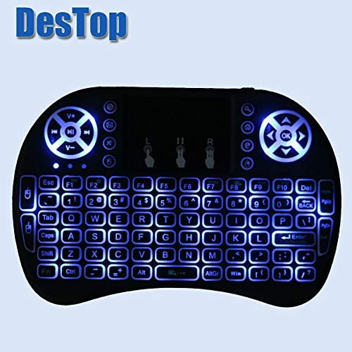 English Russian Backlight 2.4GHz Wireless Keyboard Air Mouse Touchpad Handheld Backlit for Android TV BOX Mini PC 3 Colors Calvas i8 Color: English Version