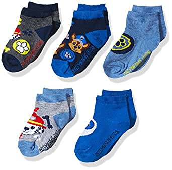 Nickelodeon Boys' Little Paw Patrol 5 Pack No Show, Assorted Blue, Fits Sock Size 5-6.5; Fits Shoe Size 4-7.5