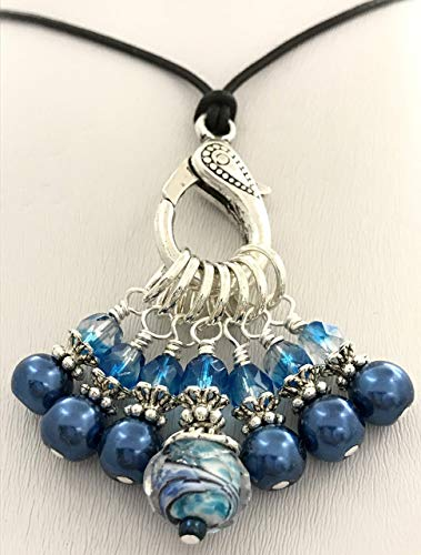Midnight Knitting Stitch Marker Necklace Holder -