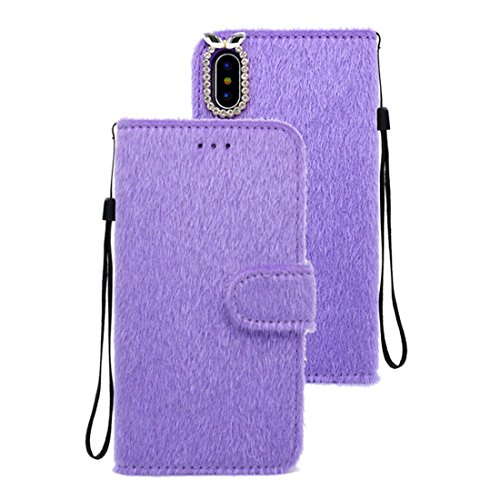 - For iPhone X Rabbit Ears Diamond Encrusted Horizontal Flip Plush Protective Back Cover with Holder & Card Slots & Wallet & Lanyard J.S.U ( Color : Purple )