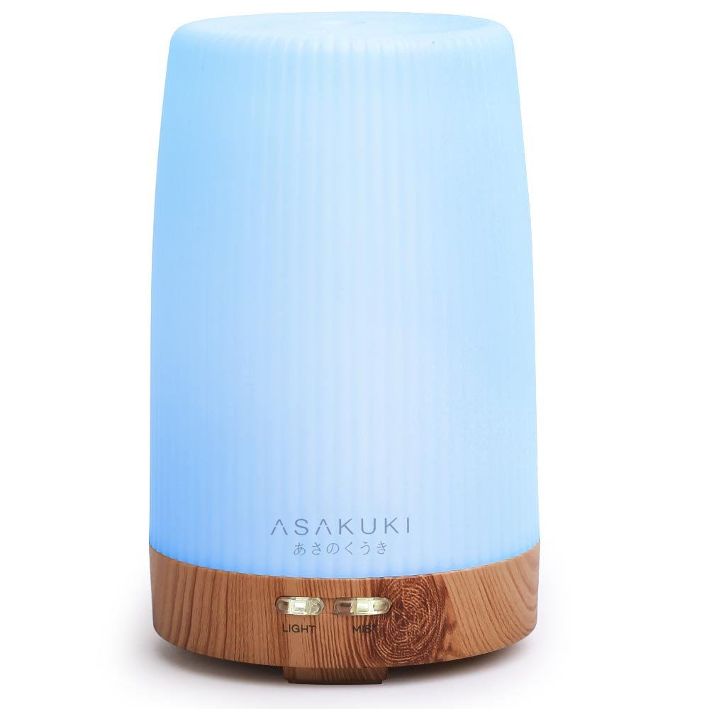 ASAKUKI Premium, Essential Oil Diffuser, 5 In 1 Ultrasonic Aromatherapy Fragrant Oil Vaporizer, Humidifies The Air, Timer and Auto-Off Safety Switch, 7 LED Light Colors 100ML