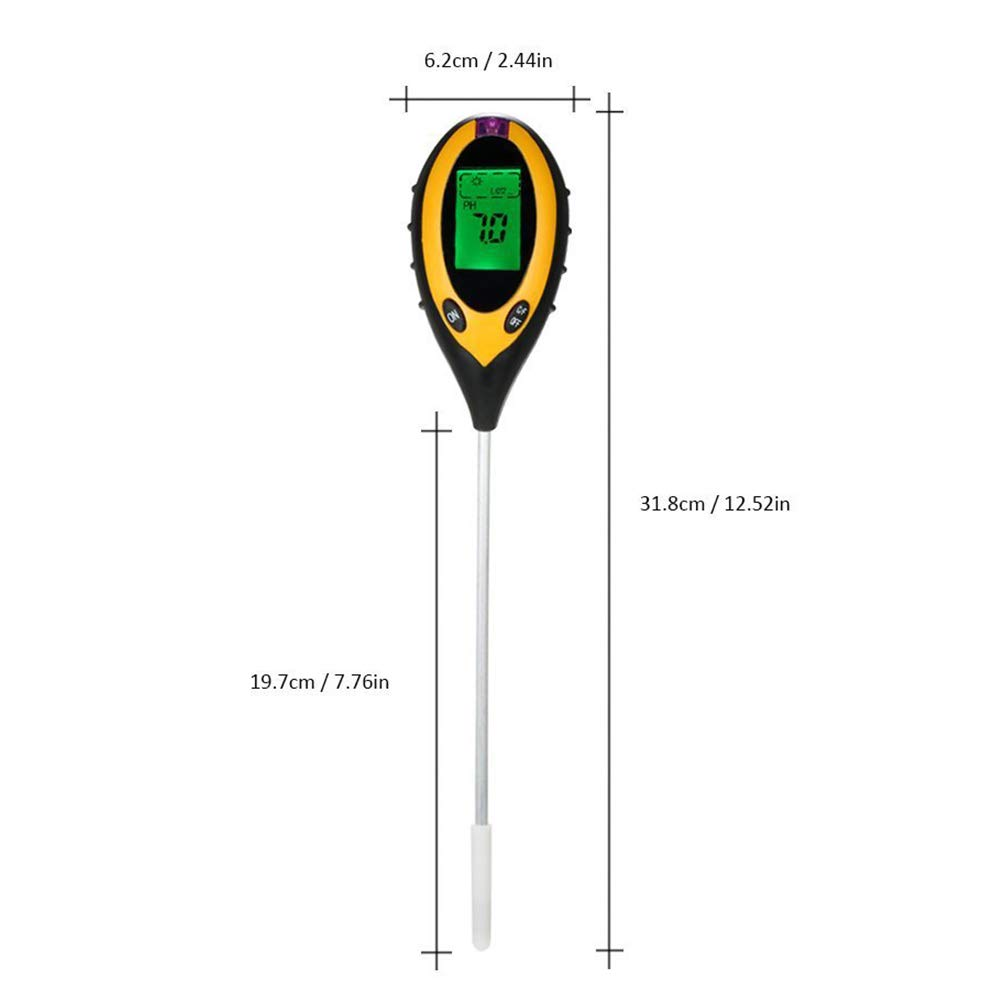 Soil PH Tester, Soil Survey Instrument Moisture Meter 4-in-1 PH Levels Plant Soil Tester with Backlit LCD Display, Light & Moisture acidity Tester,Great For Garden, Farm, Lawn, Indoor & Outdoor by GETMORE7 (Image #6)