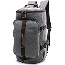 Large Canvas Backpack, Yousu Man Vintage Backpack Rucksack Outdoor Traveling Duffel Backpack Bag Classic Travel Multi Functional School Bookbag 3-In-1 Grey