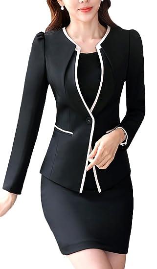 Amazon Com Sk Studio Women S Two Piece Buesine Stretch Jacket Skirt