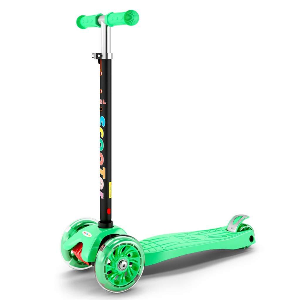CMXIA Scorrevole infiammante a Quattro Ruote del motorino dei Bambini di Altezza Regolabile per i Ragazzi e Le Ragazze motorino del principiante 3-14 Anni ( Colore   verde )