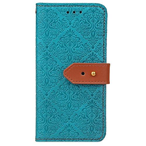 SRY-case Cubierta de la caja de la cartera de cuero de la PU con la hebilla y el soporte del remache del cuero genuino adaptado para LG K10 (2017) ( Color : Blue ) Blue