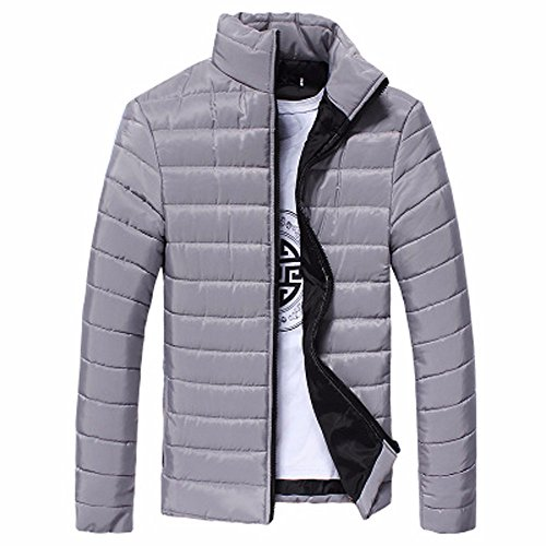 Fabal Winter Men Thick Coat Stand Collar Cotton Jacket Warm Solid Color Overcoat at Amazon Mens Clothing store: