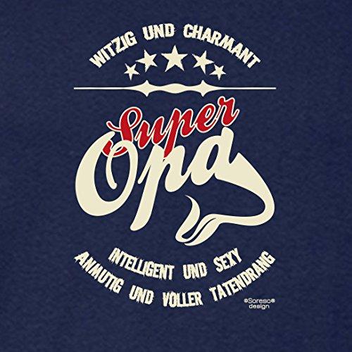 Großvater Fun-T-shirt als Top Geschenk mit GRATIS Urkunde - Super Opa Farbe: navy-blau Gr: S