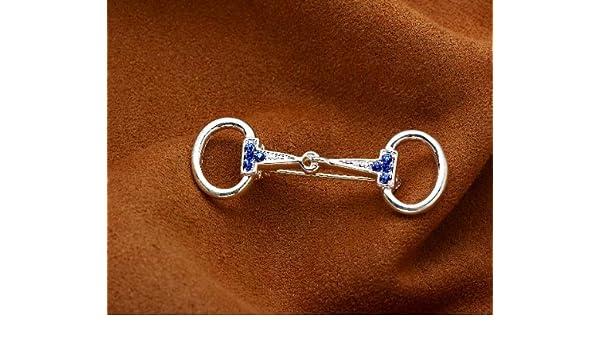 Plata Pin de corbata, Snaffle Bit Stock, Blue Stones: Amazon.es ...