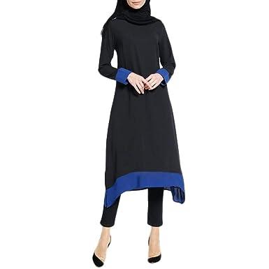 Fiesta Vestir Ropa Falda Mujer Otoño,BBestseller Mujer Vestido Largo islámico de Las Mujeres Musulmanes