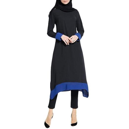 Fiesta Vestir Ropa Falda Mujer Otoño,BBestseller Mujer Vestido Largo islámico de Las Mujeres Musulmanes Empalme Color Puro más tamaño Oriente Medio de Las ...