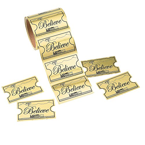 Gold Believe Ticket North Pole Train Stickers (1 Roll)