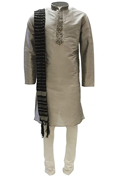 MKP3138 Gris y Negro Hombres de Kurta pijama Indian Suit Bollywood Sherwani Chest 52 inches