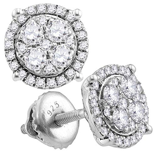 (Diamond Circle Cluster Earrings 1/2ct 10k White Gold)