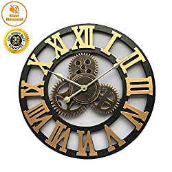 HSJLH Retro Gear Hanging Clocks, Decorative Wall Stickers Creative Clock for Interior Decoration Bedroom, Living Room, Kitchen,Metallic
