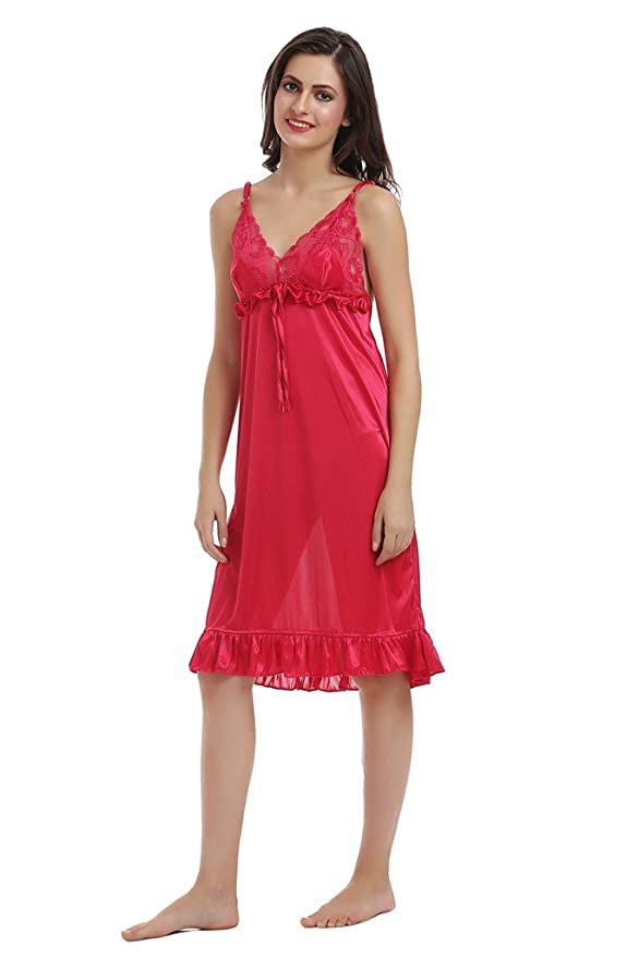 ac558e46a Miavii Women s Satin Fabric Designer Pink Color Babydoll Short Nightdress- Free  size  Amazon.in  Clothing   Accessories