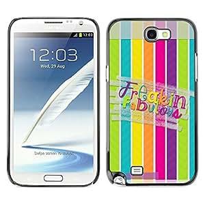 Caucho caso de Shell duro de la cubierta de accesorios de protección BY RAYDREAMMM - Samsung Galaxy Note 2 N7100 - Fabulous Lines Pattern Pastel