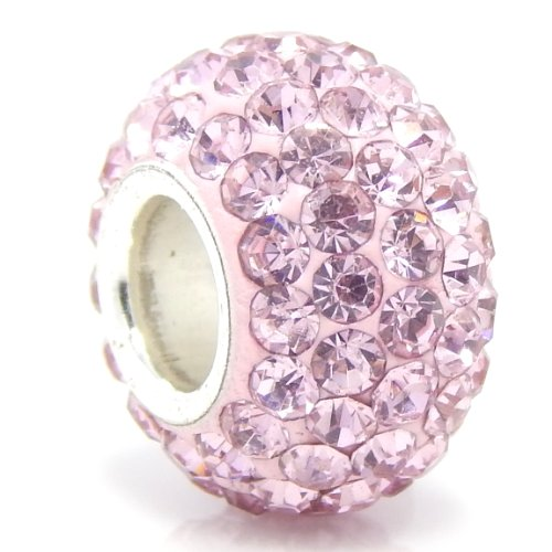 """Jewelry Monster Silver Finish """"Alexandrite Light Purple"""" Crystal Pave Charm Bead for Snake Chain Charm Bracelet"""