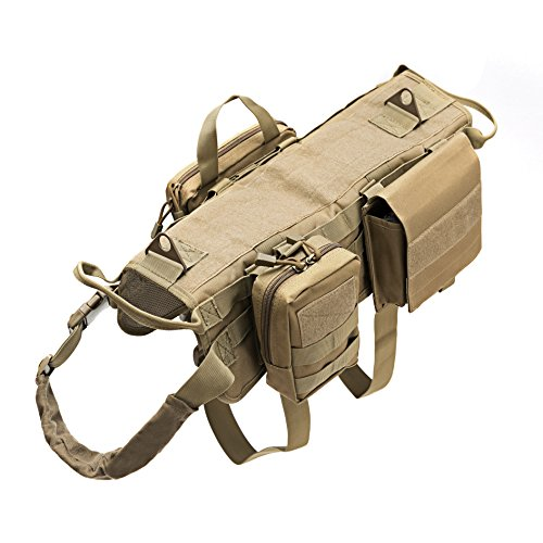 Dog Camouflage Vest - Vevins Dog Tactical Service Harness Training Molle Vest Adjustable Camouflage Harness with 3 Detachable Pouches, Brown Size XL