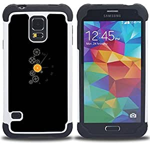 GIFT CHOICE / Defensor Cubierta de protección completa Flexible TPU Silicona + Duro PC Estuche protector Cáscara Funda Caso / Combo Case for Samsung Galaxy S5 V SM-G900 // Sprockets & Wheels Clock Mechanic //