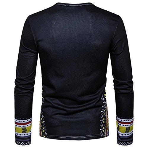 Aimee7 africana Negro de estampada Camiseta larga hombre para casual Moda manga Camisa 8nxPR6w8rq
