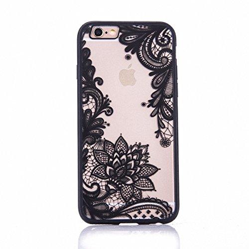 König-Shop Handy Hülle Mandala für Apple iPhone 7 Design Case Schutzhülle Motiv Blüte Cover Silikon Tasche Bumper Schwarz