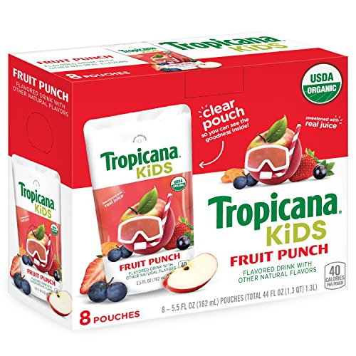 Tropicana Kids Organic Juice Drink Pouch, Fruit Punch, 5.5 fl oz Pouches, 8 Count by Tropicana