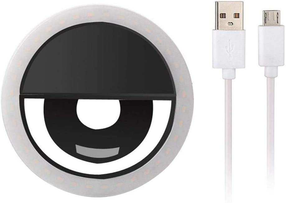 Black Migugu Portable Selfie Light Ring Lights LED Circle Light Cell Phone Laptop Camera Photography Video Lighting Clip USB Charge