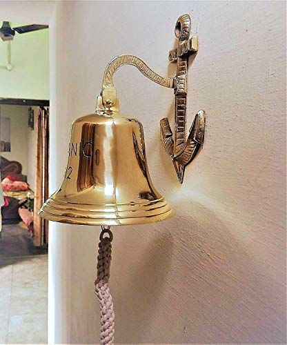 (Decor Hunt Classic Titanic Large Brass Ship Bell Wall Bracket Rope Nautical Pub Last Orders 7 inches)