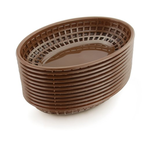New Star Foodservice 44119 Fast Food Baskets, 9.25 x 6 Inch Oval, Set of 36, - Brown Fish Star