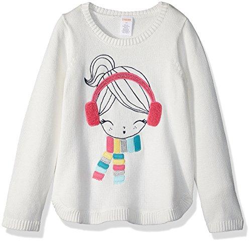 Gymboree Girls' Toddler Long Sleeve Winter Gal Sweater, Jet Ivory, 4T -