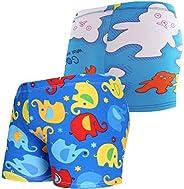 Monvecle Little Boys 2 Pack Swim Trunks Cartoon Beach Children Boxers Rashgurad Swimsuit Shorts UPF 50+