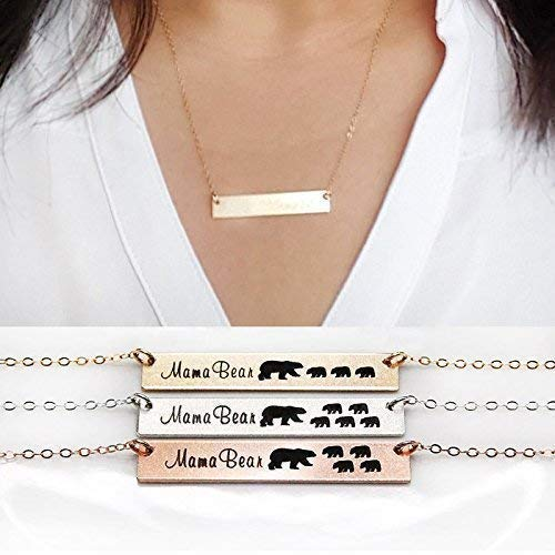 Mama Bear Bar Necklace Moma Bear Silver Gold Color Mothers Day Necklace