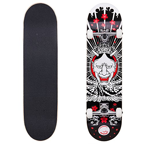 Cal 7 Complete Skateboard, Popsicle Double Kicktail Maple Deck, 31 Inches, Perfect for All Skate Styles in Various Graphic Designs (8