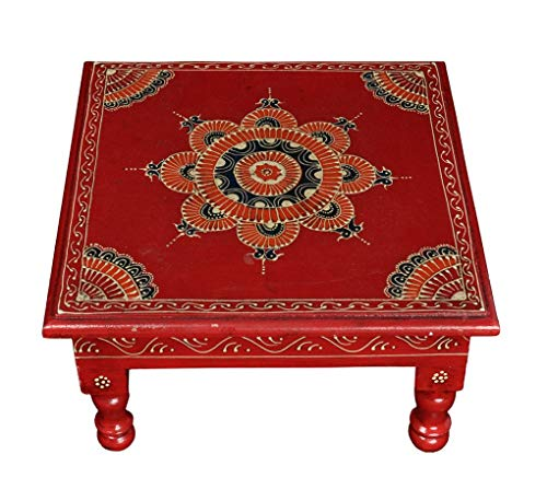 Lalhaveli Small Side Tables Wooden Bajot Puja Chowki 11 X 11 X 5.5 Inches