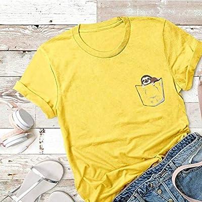D-X Americana Creativa Simple Camiseta de Mujer Verano Algodón Manga Corta, Amarillo, l: Amazon.es: Deportes y aire libre