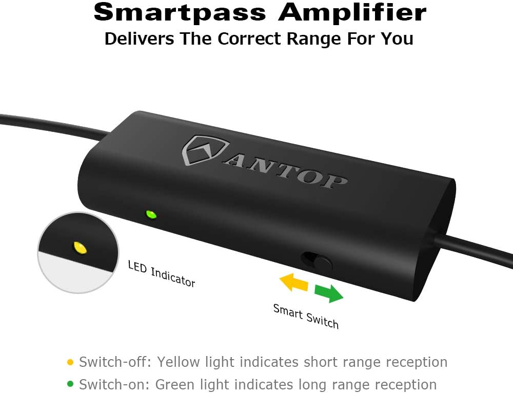 ANTOP Smartpass Amplifier TV Signal Booster for Any Non-Amplified TV Antenna High Gain /& Low Noise /& Built-in 4G LTE Filter,Amplify VHF and UHF Signals Included USB Power Adapter and 5ft USB Cable