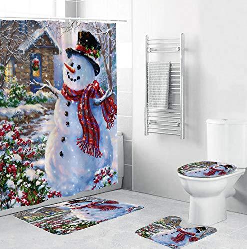XIANGLIOOD 4 Piece Set Merry Christmas Happy Snowman Cardinals Santa Claus Waterproof Shower Curtain Toilet Mat (Christmas Snowman Set)